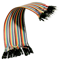Set of 40 pcs. M-F cables in various colors with a length of 17 cm